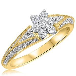 3/4 CT. T.W. Diamond Ladies Engagement Ring 10K Yellow Gold- Size 6.25