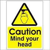 Caution mind your head 150x200mm Self Adhesive