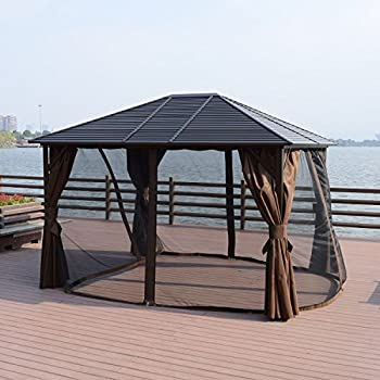 Outsunny 12' x 10' Steel Hardtop Outdoor Gazebo with Curtains - Brown/Black