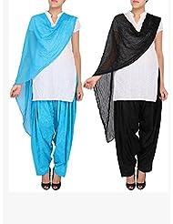 Womens Cottage Combo Pack Of 2 Pure Cotton Jacquard Semi Patiala & Chiffon Dupatta With Lace Set