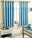 Powder Blue Gingham Baby Bedroom Curtains Blackout Thermal 66 x 54 Thermal Backed Eyelet Top Heading Readymade Blockout Curtain
