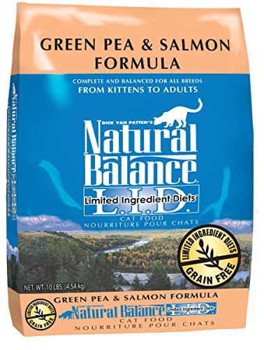 Natural Balance L.I.D. Limited Ingredient Diets Green Pea & Salmon Formula Dry Cat Food, 10-Pound