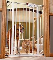 Indoor Double Door Pet Gate Deluxe Convenient Walk-through Design Easy One-touch Release Handle for Dogs & Cats