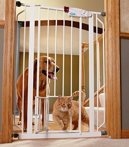 Indoor Double Door Pet Gate Deluxe Convenient Walk-through Design Easy One-touch Release Handle for Dogs & Cats (Baby Gate Pet Door compare prices)
