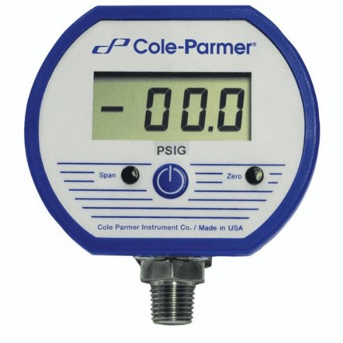 "Cole-Parmer Battery-Powered Digital Gauge, 0 To 300 Psi; 1/4"" Npt(M)"