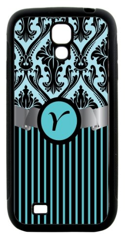 "Rikki Knighttm Letter ""Y"" Initial Sky Blue Damask And Stripes Monogrammed Design Samsung® Galaxy S4 Case Cover (Black Hard Rubber Tpu With Bumper Protection) For Samsung Galaxy S4 I9500 front-629768"