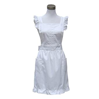 Lovely White Retro Ladys Flirty Aprons for Womens Cake Kitchen Fashion Cook Apron Chic with Pockets for Gift Chic 100% Cotton