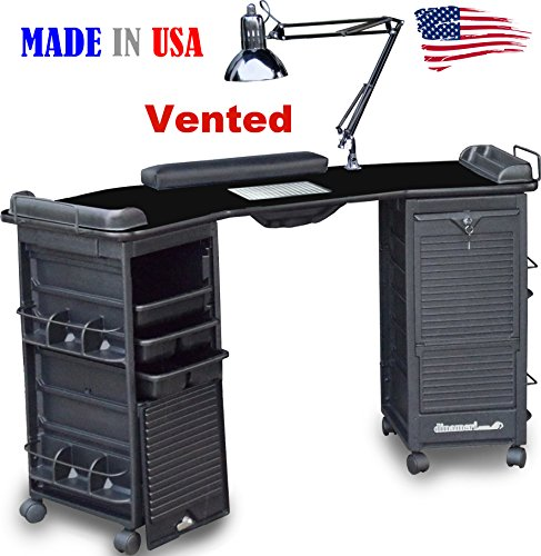 M603 Vented Manicure Nail Table Double Lockable Cabinet Black lam. Top by Dina Meri (Dina Meri Manicure Vented Table compare prices)