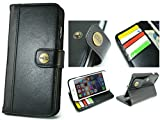 【 CIBOLA 】 ボタン式 高級牛革 iPhone6s Plus ケース / iPhone6 Plus ケース 手帳型 【 磁気カード でも安心利用 】【 専用箱 保存袋 クロス付 】 本革 カバー カードポケット付き スタンド機能 アイフォン6s プラス / 6 プラス 用 レトロブラック (iphone6 Plus / 6S Plus, ブラック)