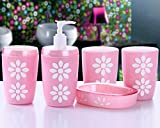 Home-Sets Acrylic Flowers 5PC Set Bathroom Accessories Bathroom Set-Pink