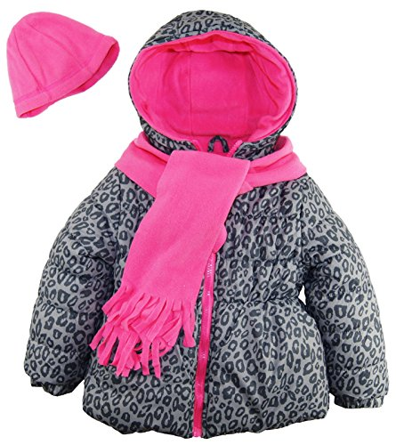 Pink Platinum Little Girls' Animal Print Puffer Winter Coat Hat and Scarf Set, Grey, 6X