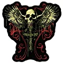 "Hot Leathers Flying Skull Gothic Cross Patch (12"" Width x 12"" Height)"