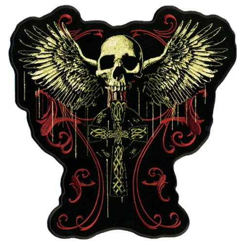 Hot Leathers Flying Skull Gothic Cross Patch (12