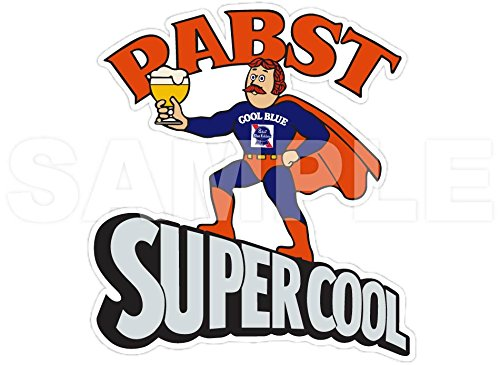 pabst-blue-ribbon-supercool-superhero-cool-blue-beer-vinyl-sticker-decal-4x4-vintage-retro