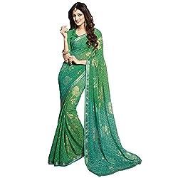 radhika Green Georgette Fabric Foil Print Saree