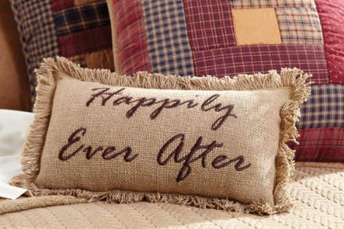 """Burlap Natural 7"""" X 13"""" Pillow """"Happily Ever After"""" front-744591"""
