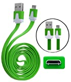 Wayzon Quality New Green Flat High Speed Sync Micro USB Data Cable Lead Charger Suitable For Samsung Galaxy Camera / Chat B5330 / Discover S730M / Express I437 / Express I8730 / Fame S6810