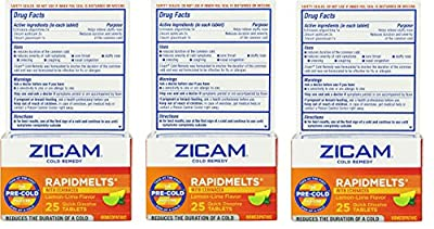 Zicam Cold Remedy Rapid Melts with Echinacea Tablets, Lemon-Lime Flavor, 25 Count