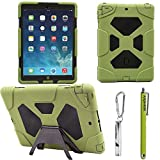 ACEGUARDER Apple Ipad Air Ipad 5 Case Waterproof Rainproof Shockproof Kids Proof Case for Ipad 5 (Gifts Outdoor Carabiner + Whistle + Handwritten Touch Pen) (Aceguarder Brand) (OLIVE/BLACK)