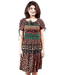 Grahcjows Creations Women's Dress (GCDRS1006_Multi Color_Medium)