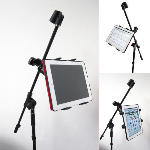 "Chargercity Music Mic Microphone Stand Tablet Mount With 360° Swivel Adjustment Holder For All Apple Ipad 4 3 2 1 Air Mini Google Nexus 10 9 8 7 Hd Asus Transformer Microsoft Surface Samsung Galaxy Tab Note Ii 7 7.7 10 Lenovo Ideapad & Other 7"" To 11"" Pro"
