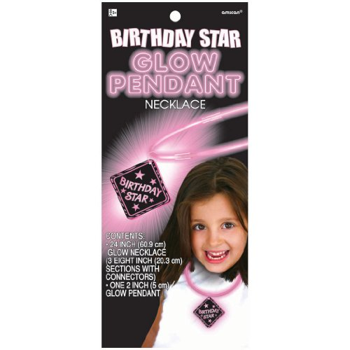 Party Favors - 1 Birthday Star Glow in the Dark Pendant Necklace