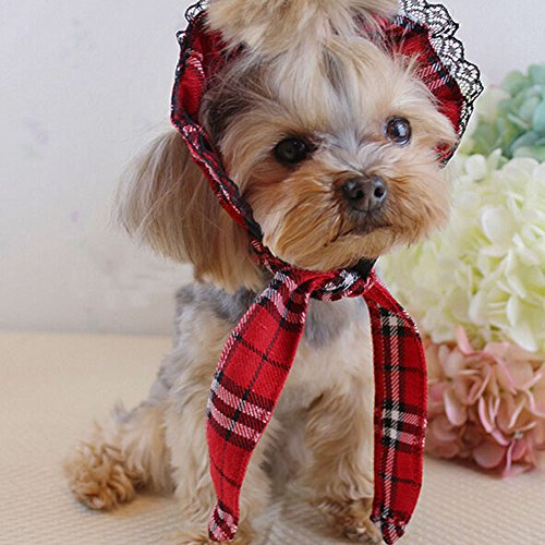 Bro'Bear Pet Plaid Hat with Lace for Small Dogs & Cats Party Maid Costume Headwear (Red, Large)