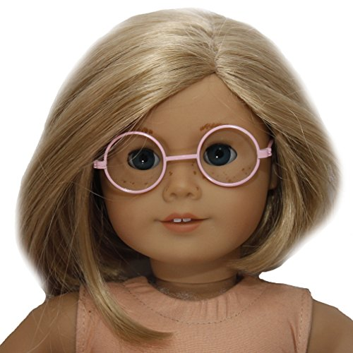 BUYS BY BELLA Round Pink Frame Glasses for 18 Inch Dolls Like American Girl - 1