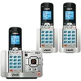 VTech DS6521-3 DECT 6.0 Cordless Phone, Silver/Black, 3 Handsets