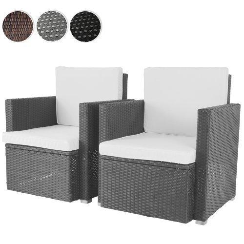 Miadomodo Poltrona polyrattan poltrone da giardino sedie giardino (grigio; set 2)