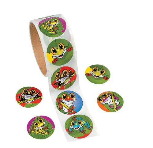 100 Frog Roll Stickers, 1 Roll