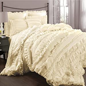 Lush Decor Belle 4-Piece Comforter Set, Queen, Ivory