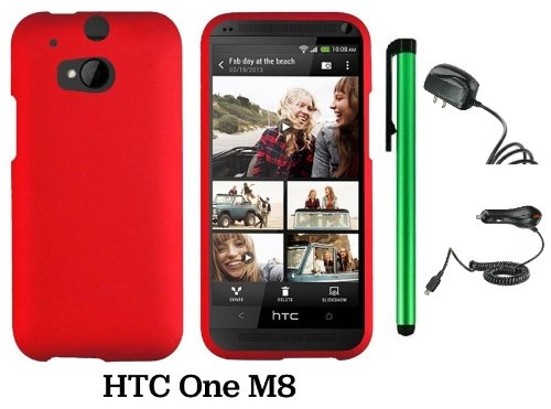 Htc One (M8) Solid Plain Color Hard Protector Cover Case (For 2014 Htc New Flagship Android Phone; Carrier: Verizon, At&T, T-Mobile, Sprint) + Travel (Wall) Charger & Car Charger + 1 Of New Assorted Color Metal Stylus Touch Screen Pen (Red)