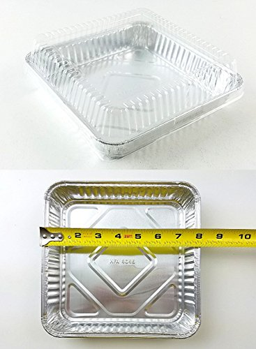 Handi-Foil Square Aluminum Foil Cake Pan w/Dome Lid - Disposable Pans (Pack of 10)
