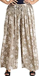 Exotic India Elmwood Casual Palazzo Pants with Printed Flowers - Green