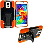 myLife (TM) Jet Black and Orange - Neo Hybrid Series (Built In Kickstand) 2 Piece + 2 Layer Case for NEW Galaxy S5 (5G) Smartphone by Samsung (External Hard Fit Armor With Built in Kick Stand + Internal Soft Silicone Rubberized Flex Gel Bumper Guard)