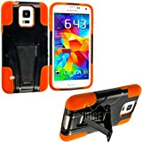 myLife Jet Black and Orange - Neo Hybrid Series (Built In Kickstand) 2 Piece + 2 Layer Case for NEW Galaxy S5 (5G) Smartphone by Samsung (External Hard Fit Armor With Built in Kick Stand + Internal Soft Silicone Rubberized Flex Gel Bumper Guard)