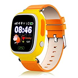 EOBP(TM) kids smart watch phone GPS Tracker Wifi Locating GSM Remote Locating Security SOS Alarm Antilost phone watch for children (Yellow)