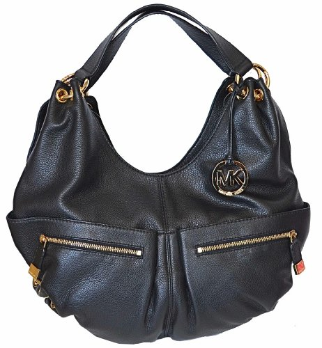 0eaf680ff21d Michael Kors Black Pebbled Leather LAYTON Large Shoulder Tote Bag Handbag  Purse