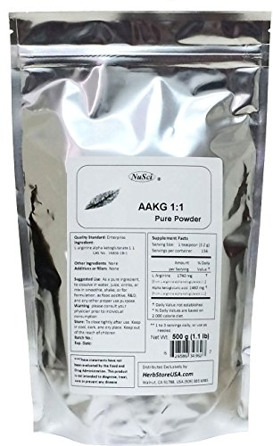 NuSci AAKG (1: 1) L-Arginine Alpha Ketoglutarate (1: 1) poudre pure force maximale (500 grammes (£ 1,1))