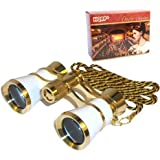 HQRP 3 x 25 Opera Glass Binocular White pearl with Gold Trim w/ Necklace Chain plus Coaster