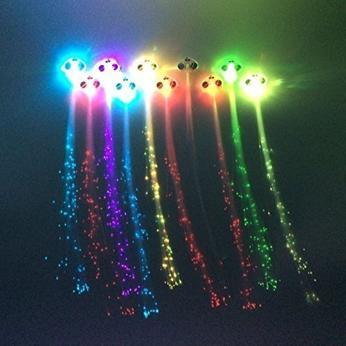 Zicome 10 Pack Light Up Fiber Optic Led Hair Lights - Multicolor Flashing Barettes - Party Supplies - 1