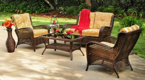 4pc Lanai Outdoor Wicker Resin Patio Sofa Seating Set Furniture