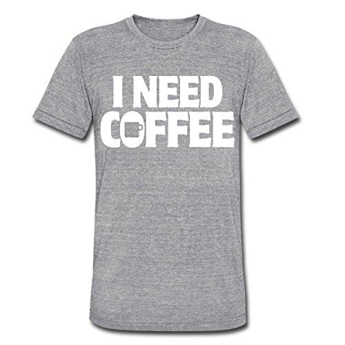 Spreadshirt Men'S I Need Coffee Funny Cute Java... T-Shirt, Heather Gray, S