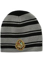 "Bioworld Adult Harry Potter ""Crest"" Black & Grey Stripe Knit Beanie Hat"