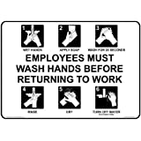 ComplianceSigns Plastic Employee Wash Hands Sign, 10 x 7 in. with English Text, White
