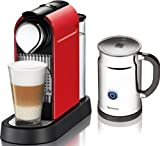 Nespresso Citiz Espresso Maker with Aeroccino Plus Milk Frother Fire Engine Red