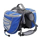 """Lalawow Hunderucksack Camping Wandern Rucksack Breath Einstellbar Sattel Tasche Rucksack für Medium und Large Dog (M - Chest 27.56-31.89"""", Blau)"""