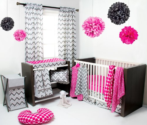 Ikat Pink/Grey 6 Crib Set with 4 Muslin Blankets
