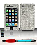 Accessory Factory(TM) Bundle (the item, 2in1 Stylus Point Pen) iPhone 3G 3Gs (AT&T) Swarovski Full Diamond Protectors - Silver SW-FPD Case Cover Protector Stylish Full Diamond Bling Design Snap On Hard Case Protector Cover Faceplate Shell